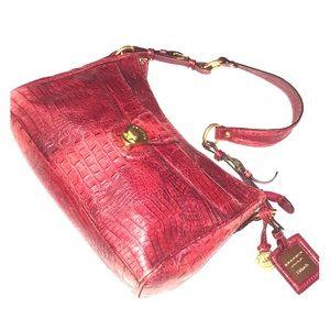 BRAHMIN New Melbourne scarlet croc-embossed bag